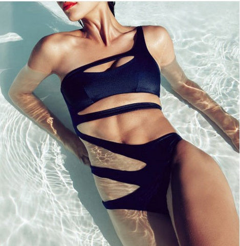 2017 Sexy One Piece Bandage Swimsuit Women One Shoulder Cut Out Monokini Solid White Swimwear Bathing Suit Bodysuit Trikinis