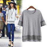 New 2016 Fashion T Shirt Women Fifth Sleeve O-neck Casual Tops Sexy Lace Crochet Embroidery Top Tees Blusas Plus Size 5xl