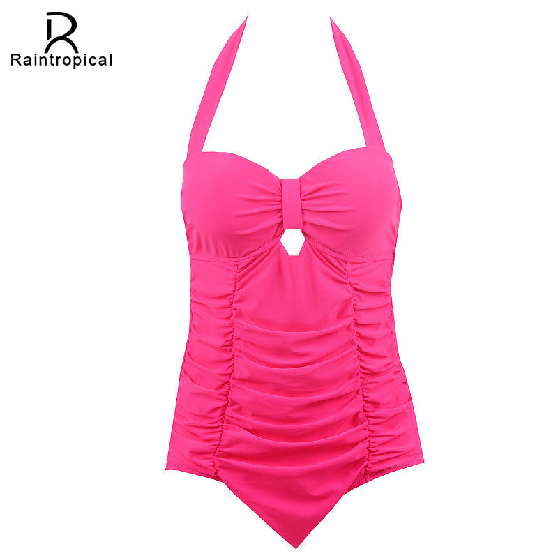 Raintropical 2017 New Plus Size Swimwear Women One Piece Swimsuit Solid Swimwear Large Size Vintage Retro Swimsuit Bathing Suits