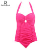Image of Raintropical 2017 New Plus Size Swimwear Women One Piece Swimsuit Solid Swimwear Large Size Vintage Retro Swimsuit Bathing Suits
