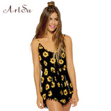 ArtSu 2017 Sexy Rompers Vintage Straps Sunflower Print Jumpsuits Hot Pants Playsuit Shorts Rompers Womens Jmpsuit 91366