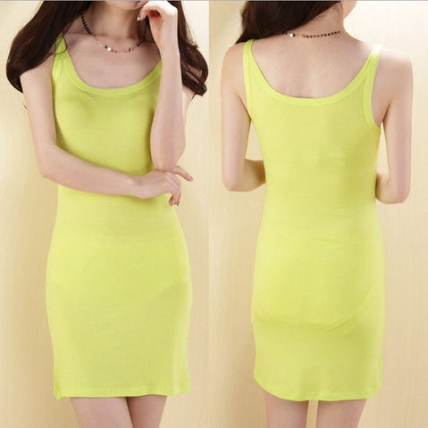 10 Colors Summer Women O-Neck Slim Sheath Above Knee Long Camisoles Dresses Modal Large Elastic Spaghetti Strap Tank Tops Tees