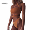 Image of 2016 Brazilian Halter Sexy Bralatte Women Bikini Set Beach Solid Push-Up Wrapped Hottie Biquinis Gorgeous Banded Bathing Suit