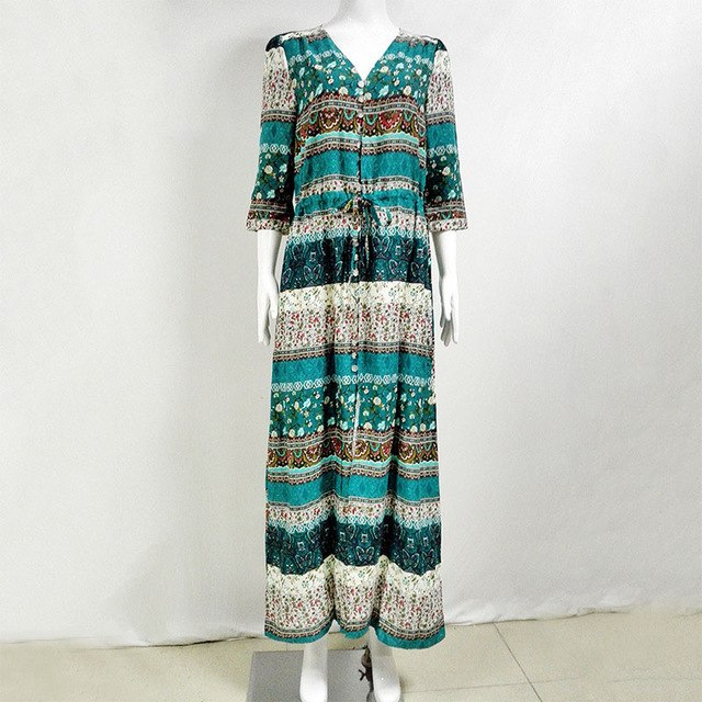 3XL Boho Ethnic Summer Long Maxi Dress Women Sexy V-Neck Sundress Ladies Half Sleeve Loose Beach Dresses Big Size Vestidos