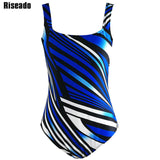 Riseado 3XL Plus Size Swimwear Women One Piece Swimsuit 2017 New Striped Backless monokini Female Bathing Suits