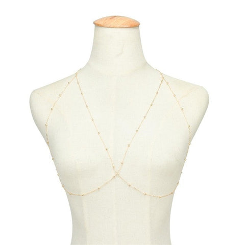 Sexy Beach Bikini Bra Chain Gold Silver Color Alloy Beads Multilayer Necklace Crossover Body Chain 1K1029
