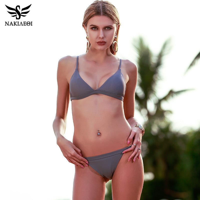 NAKIAEOI 2017 New Sexy Micro Bikinis Women Swimsuit Swimwear Halter Brazilian Bikini Set Beach Bathing Suits Swim Wear Biquini