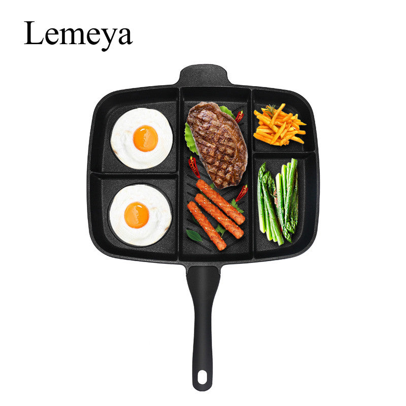 "Wholesale Fryer Pan Non-Stick 5 in 1 Fry Pan Divided Grill Fry Oven Meal Skillet 15"" Black"