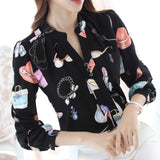 spring 2016  New fashion plus size women tops  shirt slim female long sleeved chiffon blouse 884A 30
