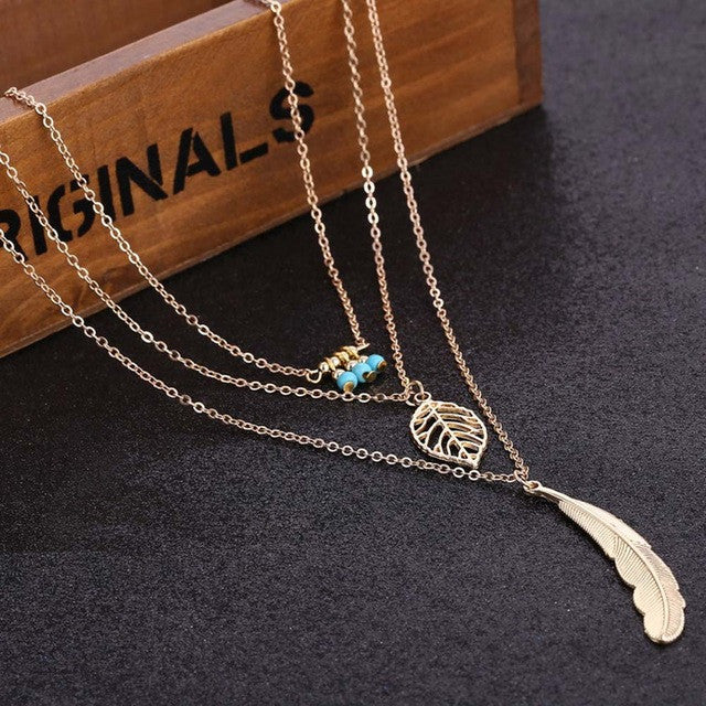 Tomtosh 2016 Fashion Women Multilayer Irregular Pendant Chain Silver Feather Necklace