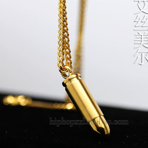 JHNBY Bullet Couple pendant High Quality Fashion Hiphop Gold-color Plated 60cm long chain statement necklace men Unisex  jewelry
