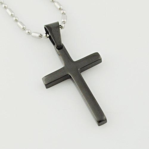 Gokadima Fashion Trendy Stainless Steel Simple Little Cross Pendant Necklace For men or women, 4 colors