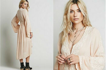 2017 Long Dress Women Vintage Ethnic Flower Embroidered Cotton Tunic Casual Long Dress Hippie Boho People Asymmetric Maxi Dress