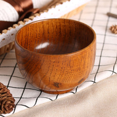 1PC New Cute Natual Wood Round Salad Bowl Kitchen Bamboo Handmade Children Fruit Rice Bowl