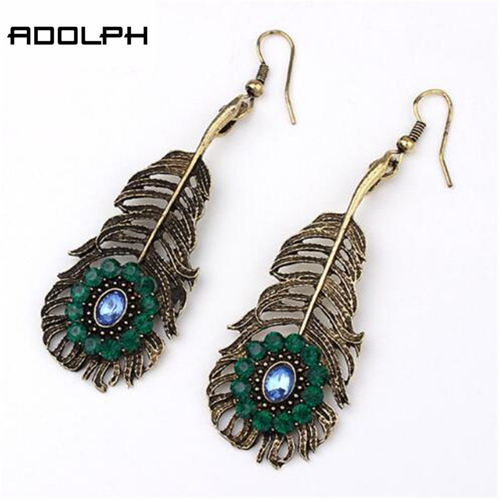 ADOLPH Jewelry Wholesale 2016 New Design Fashion Green Gem Feather Stud Earrings For Women Earrings Hot Sale Best Gift