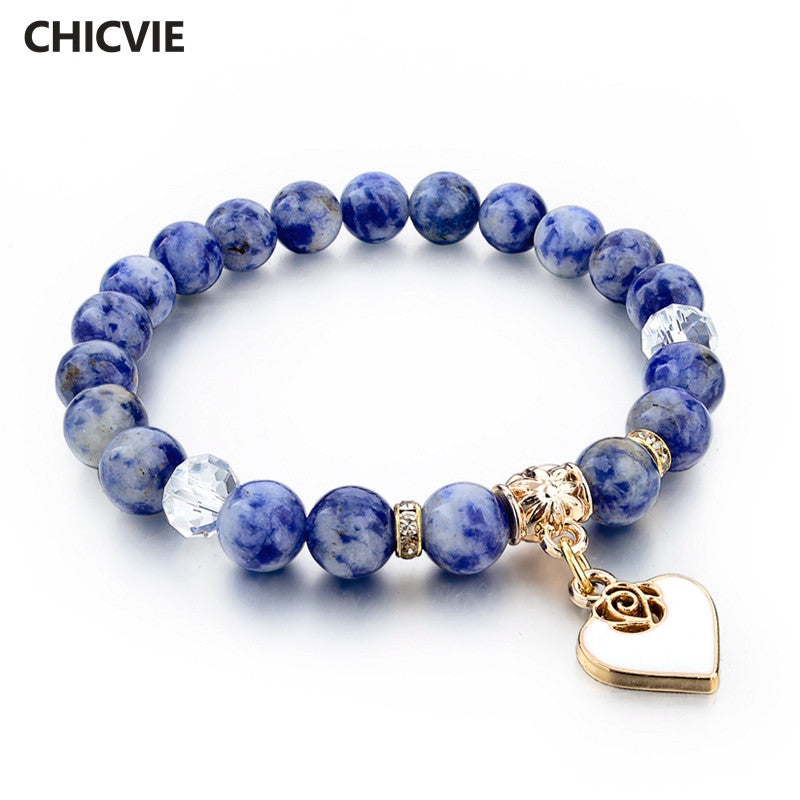 CHICVIE Boho Natural Stone Bracelets For Women Gold color Heart Love Bracelets & Bangles With Stones Ethnic Jewelry SBR150344