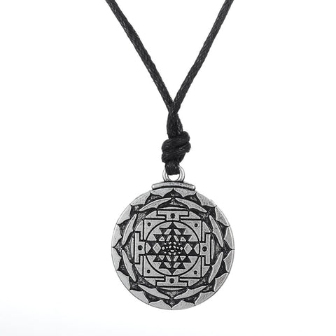 my shape  Sri Yantra for Growth and Healing Amulet Wealth Goddess Talisman Pendant Tantric Yoga Hindi Men Leather Cord Necklace