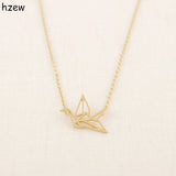 hzew Min 1pc Gold Silver Plated Origami Crane Necklaces for Women Cute Bird Chain Necklaces 2015 Simple Couple Necklaces