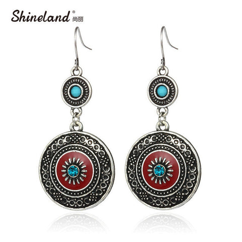 Vintage Ethnic Style Brincos Bohemian Antique Silver Plated Red Enamel Rhinestone Acrylic Flower Drop Earrings For Women HotSale
