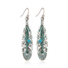 Image of 2017 Vintage Drop Feather Earrings for Women Antique Gold-Color Round Blue Enameling Rhinestone Beads Leaves Dangling Earrings
