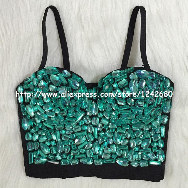 She'sModa Hand-made Beaded Gaga Rhinestone Bustier Pearls Push Up Night Club Bralette Women's Bra Cropped Top Vest Plus Size