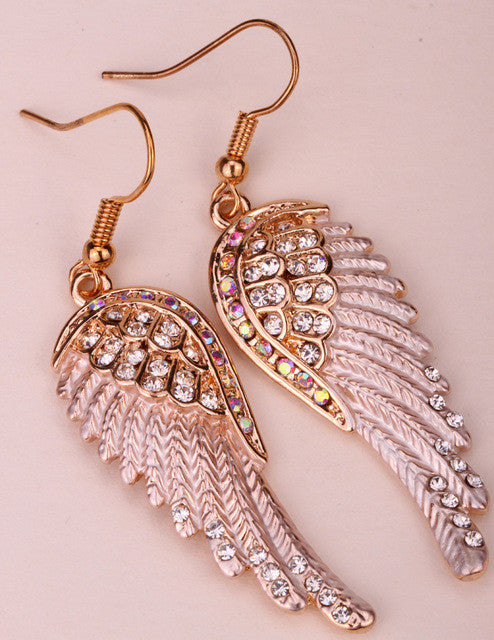 Angel wings dangle earrings antique gold silver color W crystal women biker bling jewelry gifts wholesale dropshipping EC23