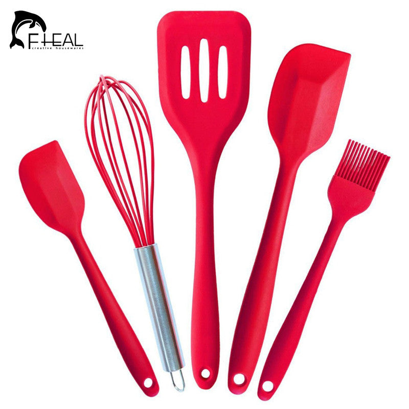 FHEAL 5Pcs Silicone Pastry Cooking Baking Scraper Sets Pastry Healthy Oil Utensil Basting Brush Spatulas Kitchen Cooking Tools