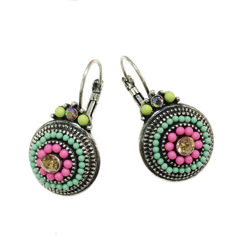 Vintage Silver 2 Color Brincos Lady Colorful Beads Charms Luckly Rhinestones Ethnic Clip On Earrings For Women Statement Jewelry