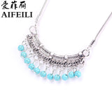 AIFEILI Fashion Classic Bohemia Style Tibetan Silver Necklace Stone Sweater Chain of Pinus Koraiensis Folk Style