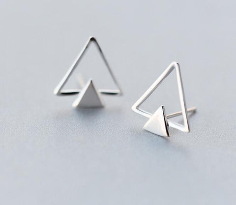 100% Real. 925 Sterling Silver jewelry Geometric Double Triangle stud Earrings 14mm*15mm Wholesale GTLE1405