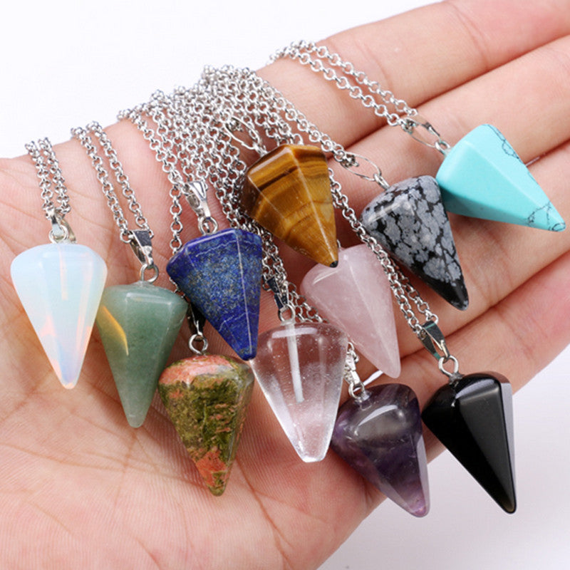 New Natural stone Quartz stone pendant Chain necklace Women Statement Fashion Jewelry  Free shipping