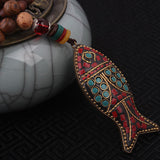 fashion evade fish ethnic necklace,stones  vintage plate Nepal jewelry,handmade sanwoods vintage bodhi pendants necklace