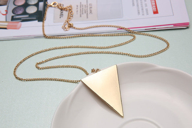 New Fashion  Triangle Long Necklaces & Pendants Women Link Chain Geometric Necklace Female Jewelry collier femme