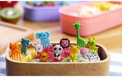 10pcs/set New Animal Farm mini cartoon fruit fork sign resin fruit toothpick bento lunch for children decorative plastic hot