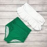 2017 High Waist Swimwear Bikini Vintage Retro Push Up Swimsuit Bathing Suit Green ruffle Beachwear