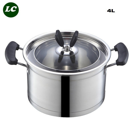 Free shipping casserole 4 litre stainless steel pot noodles cooker /soup pot cooking utensil