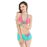 2017 Sexy Pad Bikini Push Up Swimwear Women Swimsuit Solid Halter Tankini Swimwear With Shorts Swim Suit For Women Bathing Suit
