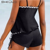 2017 New Conservative Bathing Suit Narrow Strap Dots Bordered One-piece Swimsuit Graceful Black Push Up Women Swimwear
