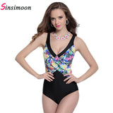 2017 high cut V neck backless printed thong one piece swimsuit push up plus size swimwear balck bathing suit big cup swimsuit