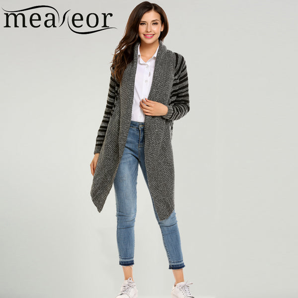 Meaneor Women's Long Striped Knitted Sweaters Cardigans Autumn Winter Casual Long Sleeve Breathable Open Front Outwear Sweater