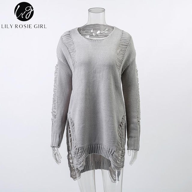 Lily Rosie Girl Gray Sexy Hollow Out Knitted Women Sweaters Pullover O-Neck Long Sleeve Casual Autumn Winter Backless Jumpers