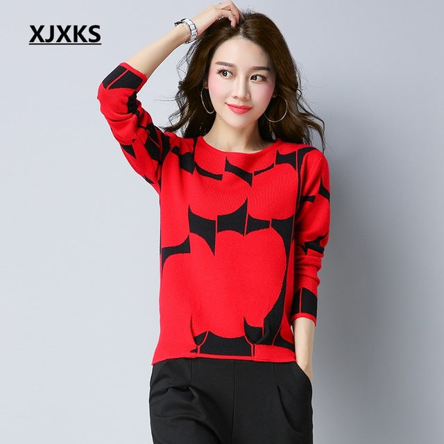 XJXKS Autumn Pullover Sweater Women Fashion Long Sleeve O Neck Cashmere Pullover Short Sweaters Slim Knit Wool Bottoming Tops