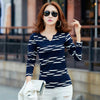 Image of T Shirt Women Long Sleeve Tshirt Woman 2018 Camisetas Mujer Striped Womens Tops Casual T-Shirts Plus Size Blue Tee Shirt Femme