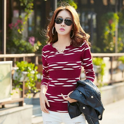 T Shirt Women Long Sleeve Tshirt Woman 2018 Camisetas Mujer Striped Womens Tops Casual T-Shirts Plus Size Blue Tee Shirt Femme