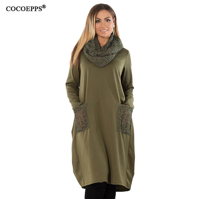 COCOEPPS 5XL 6XL Winter Loose women Dress big sizes Casual Long Sleeve Dress new 2018 Plus Size Women Clothing blue Vestidos