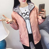2018 Spring Autumn Women Basic Jacket Pocket Zipper Hooded Two Side Wear Cartoon Print Outwear Loose Coat Windbreaker Female 101