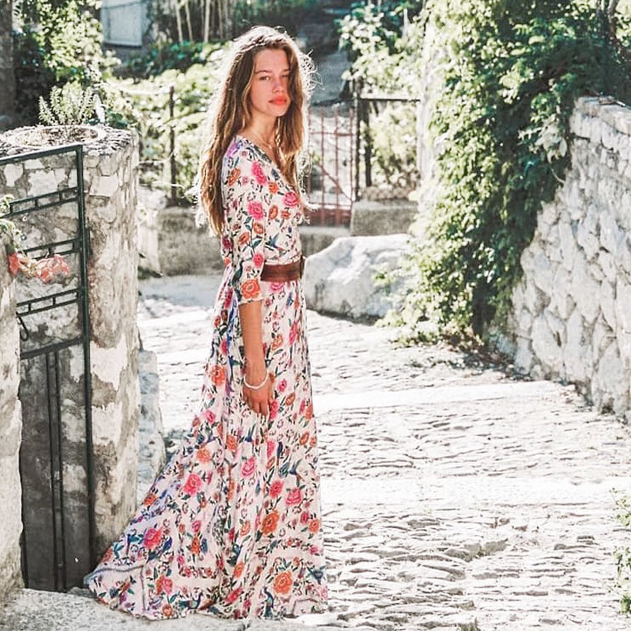 TEELYNN Boho long dress 2018 floral print cotton sexy v-neck 3/4 sleeve wrap dress maxi women dress chic bohemia summer dresses
