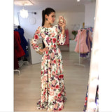 New Arrival Women Maxi Dresses Round Neck Long Sleeve Womens Fashion Floral Long Party Dress