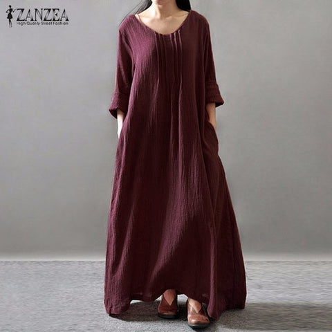 Women Elegant Dress 2018 ZANZEA Autumn V Neck Long Sleeve Floor-length Casual Loose Solid Maxi Long Dress Vestidos Plus Size