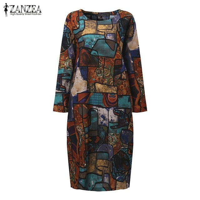 ZANZEA Women 2018 Autumn Vintage Mid-calf Length Dress Casual Loose Long Sleeve O Neck Retro Printed Dress Vestidos Plus Size